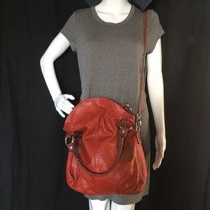 Vintage Italian Leather Tote  Hobo Crossbody Bag